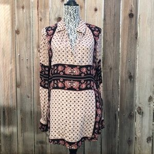 Free People Boho Floral Cream Colored Tunic Top